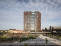 A large vertical shard of glass in the copper shutters of the façade, makes the spiral staircase visible externally and ensures visibility in relation to the activities of the tower as well as a spectacular and inspiring view over Copenhagen.