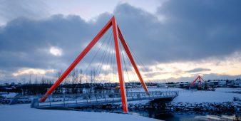 Rote Brücken über dem Elliðaár, Reykjavik