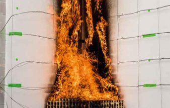 Brandschutztest im Turm – Fassadenprüfstand