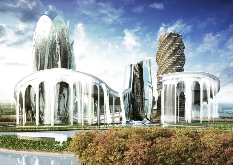 Architekturwahnsinn Rendering Wasserpark Dubai