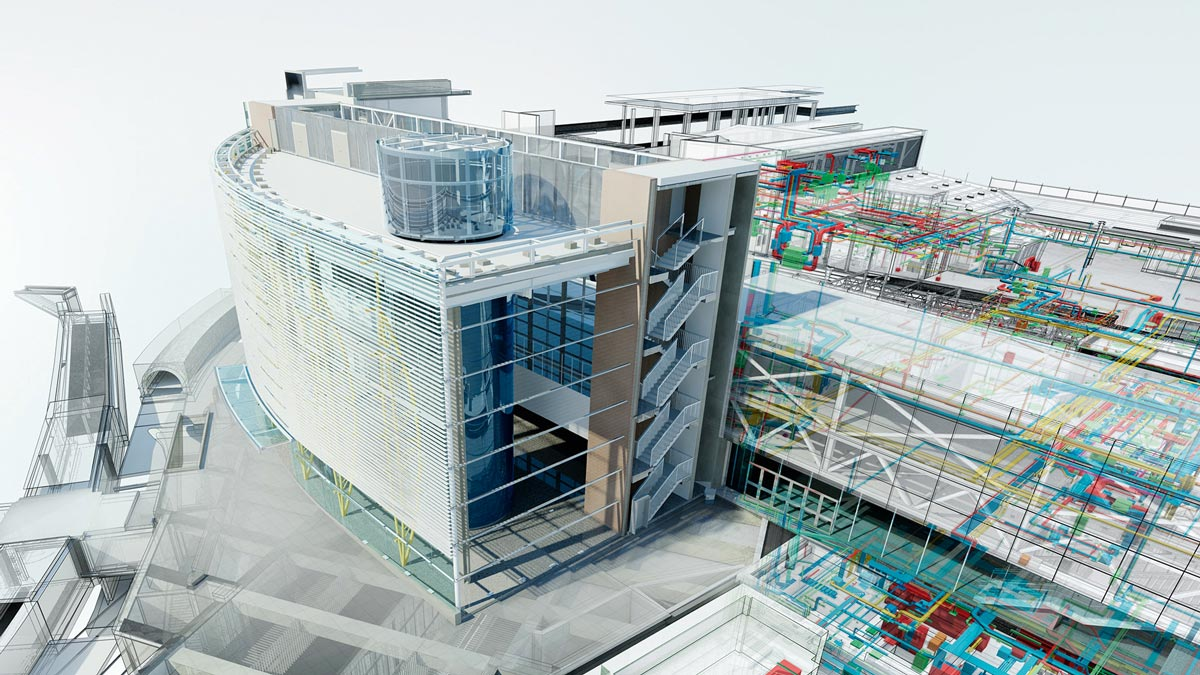 In der BIM-Planung werden nicht 2D-Pläne, sondern 3D-Gebäudemodelle fachübergreifend per IFC-Datenformat übertragen.