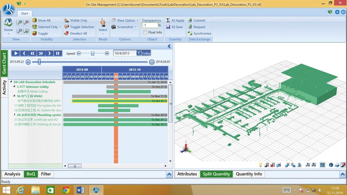 Bauablaufsimulationen ermöglichen sowohl eine Optimierung der Baustelleneinrichtung, Materialbestellung, -lieferung und -lagerung als auch Detailüberprüfungen einzelner Gewerke, etwa der SHKL-Installation und -Montage