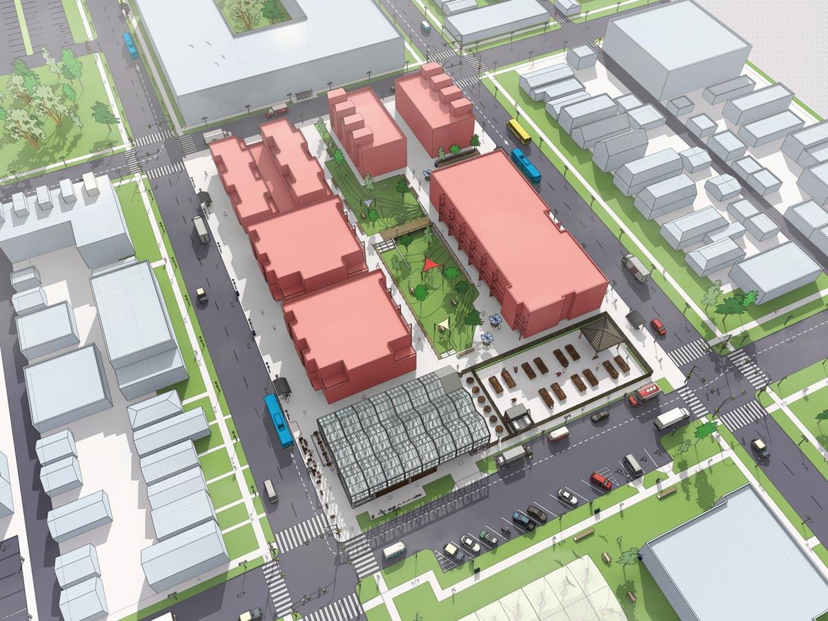 Das Spektrum von Städtebau-CAD reicht von der städtebaulichen Rahmenplanung bis zur Planung konkreter Quartiere und Gebäude.