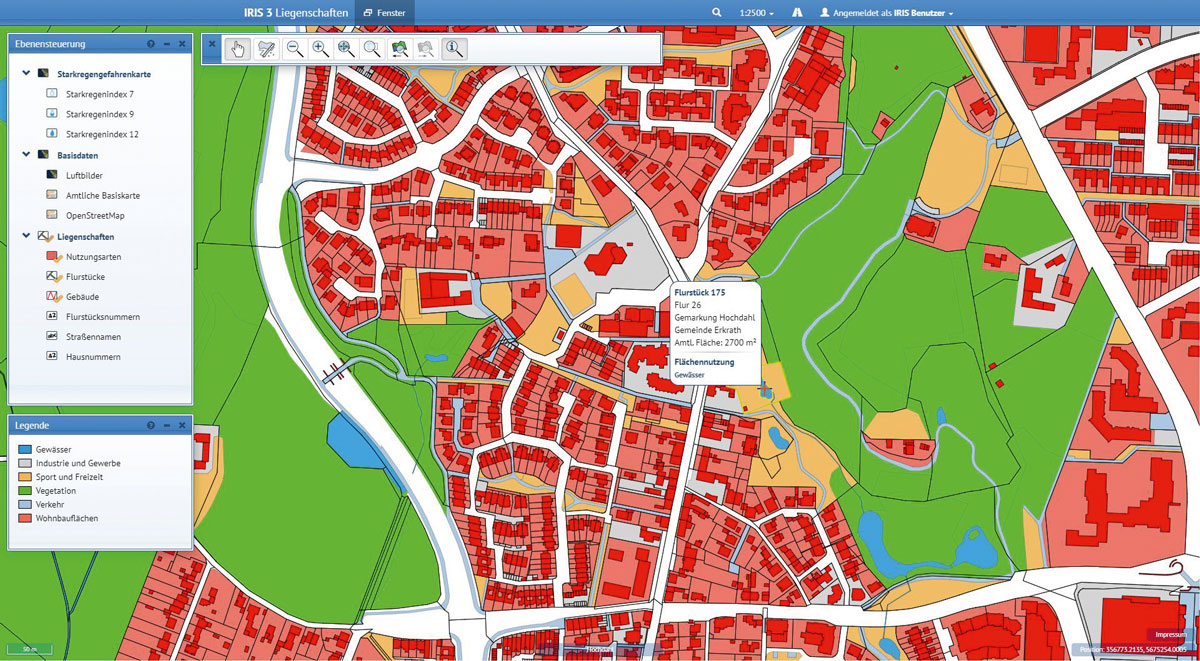 Städtebau CAD - Analysen der hinterlegten alphanumerischen Daten ermöglichen thematische Karten, beispielsweise zu starkregengefährdeten Bereichen.