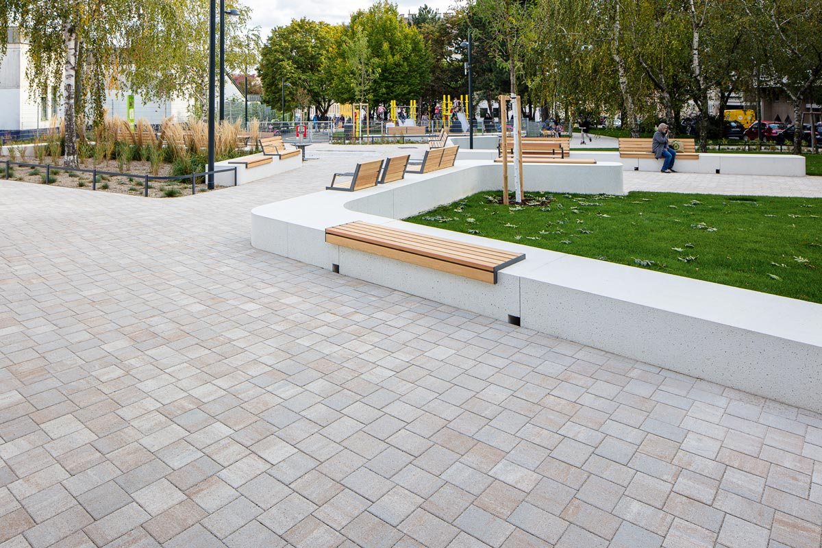 Pflastersteine mit reduNOx Technologie im Ludwig-Zatzka-Park in Wien