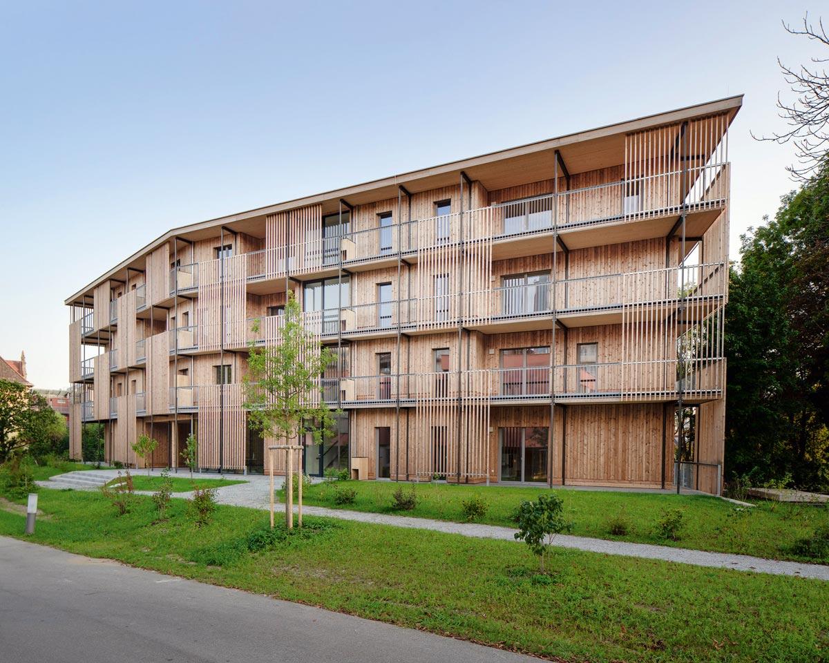 Nussmüller Architekten - Wohnbau in Holzmassivbauweise in der Grazer Max-Mell-Allee