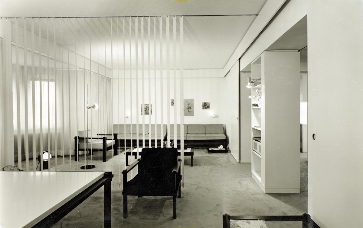 Wohnung und Studio Egon Rainer in der Egger-Lienz-Straße in Innsbruck, ausgestattet mit Möbeln aus dem Steckmöbelprogramm, um 1970