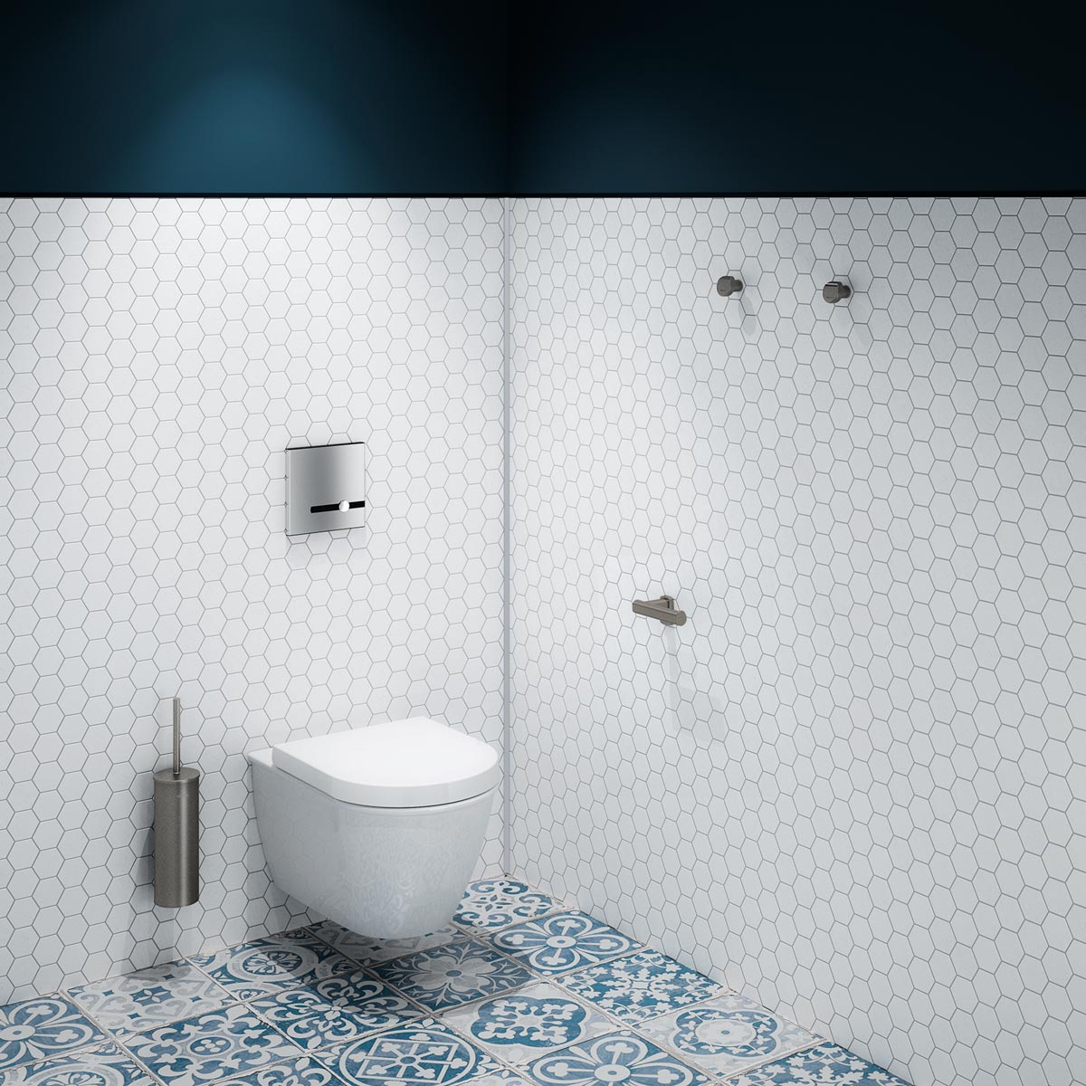Der elektronische WC-Druckspüler TEMPOMATIC mit dualer Steuerung von DELABIE bietet eine automatische Spülung bei Verlassen des Nutzers