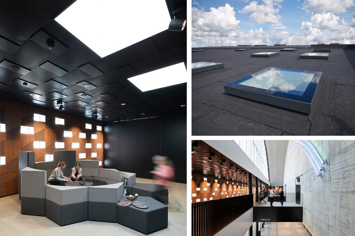 VELUX Modular Rooflights sorgen durch punktuelle Belichtung im Sportbau K.B. Hallen in Dänemark immer für die richtige Menge Licht.