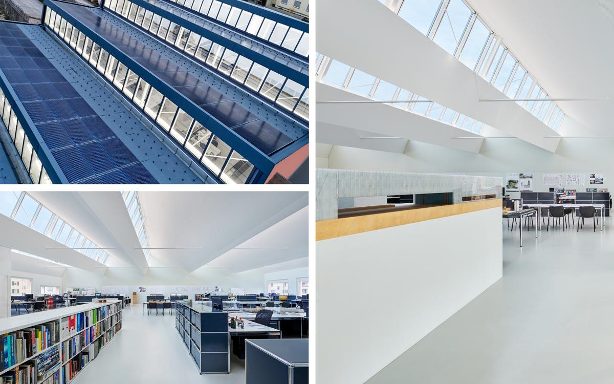 Während einer achtmonatigen Bauphase wurde das bestehende Dach aus den 1960er-Jahren bis auf die Stahlkonstruktion rückgebaut und im Atelier Zimmerlistrasse, Zürich, durch eine moderne, effiziente Konstruktion ersetzt, in die fünf Sheddach-Lichtbänder des Systems VELUX Modular Skylights integriert wurden.