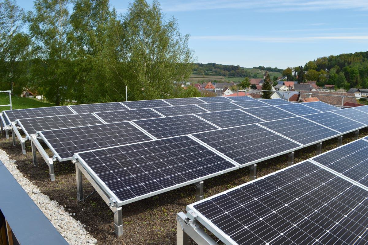 Photovoltaikanlage mit Gründach von Optigrün