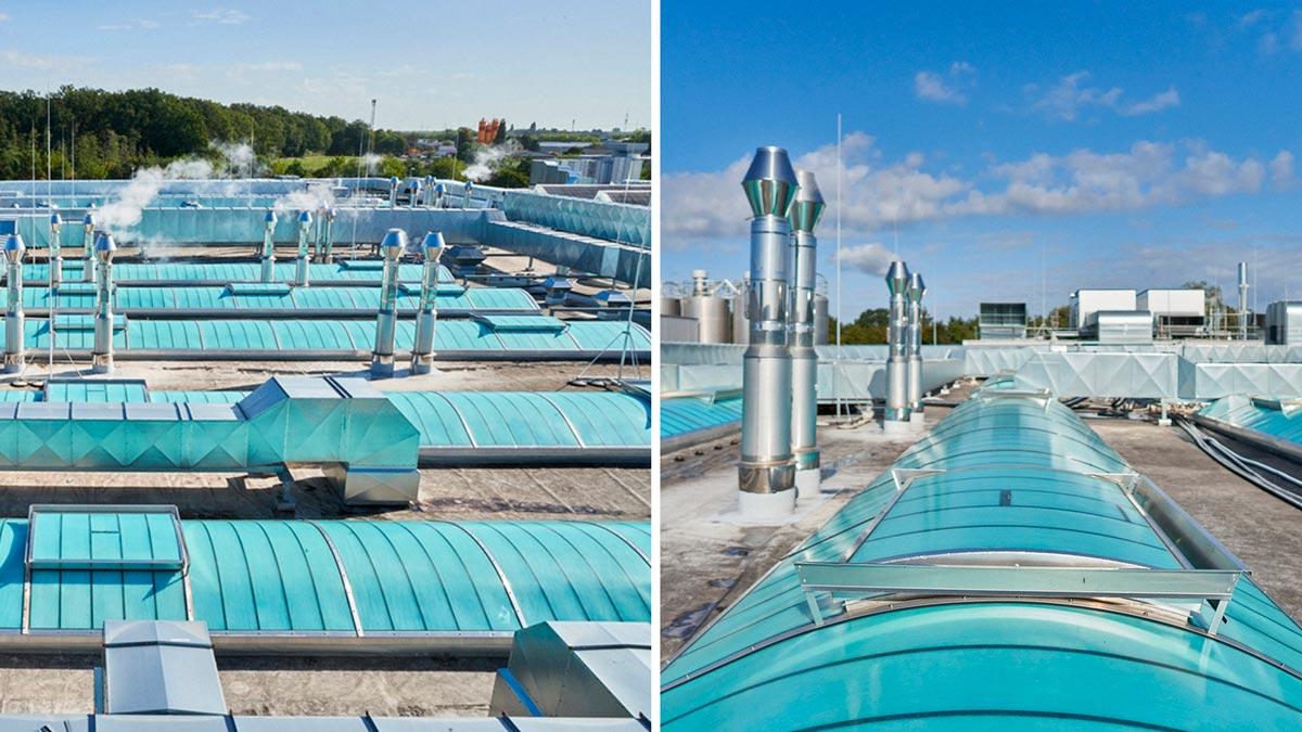Die Produktionsgebäude der Schäfer´s Backwarenfabrik wurden mit insgesamt 27 GRILLODUR®-Lichtbändern unterschiedlicher Abmessungen inklusive 39 Klappen mit RWA-System ausgestattet.
