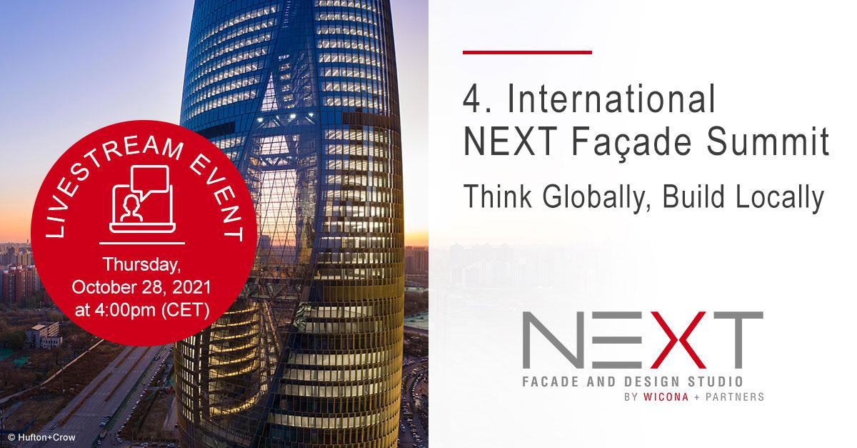 Bei der 4. Auflage des International NEXT Facade Summit dreht sich am 28. Oktober 2021 ab 16 Uhr alles um herausragende und auch nachhaltige Fassaden- bzw. Architekturprojekte aus aller Welt.